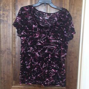 Medina black and purple short sleeve blouse XXL
